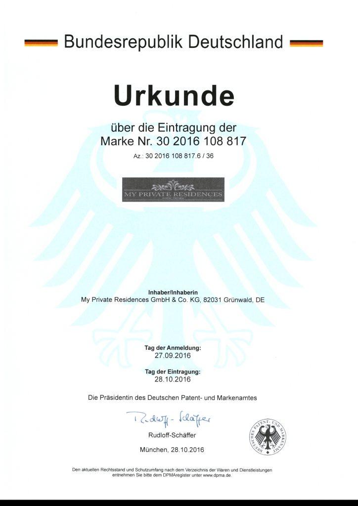 Urkunde Wort/Bildmarke