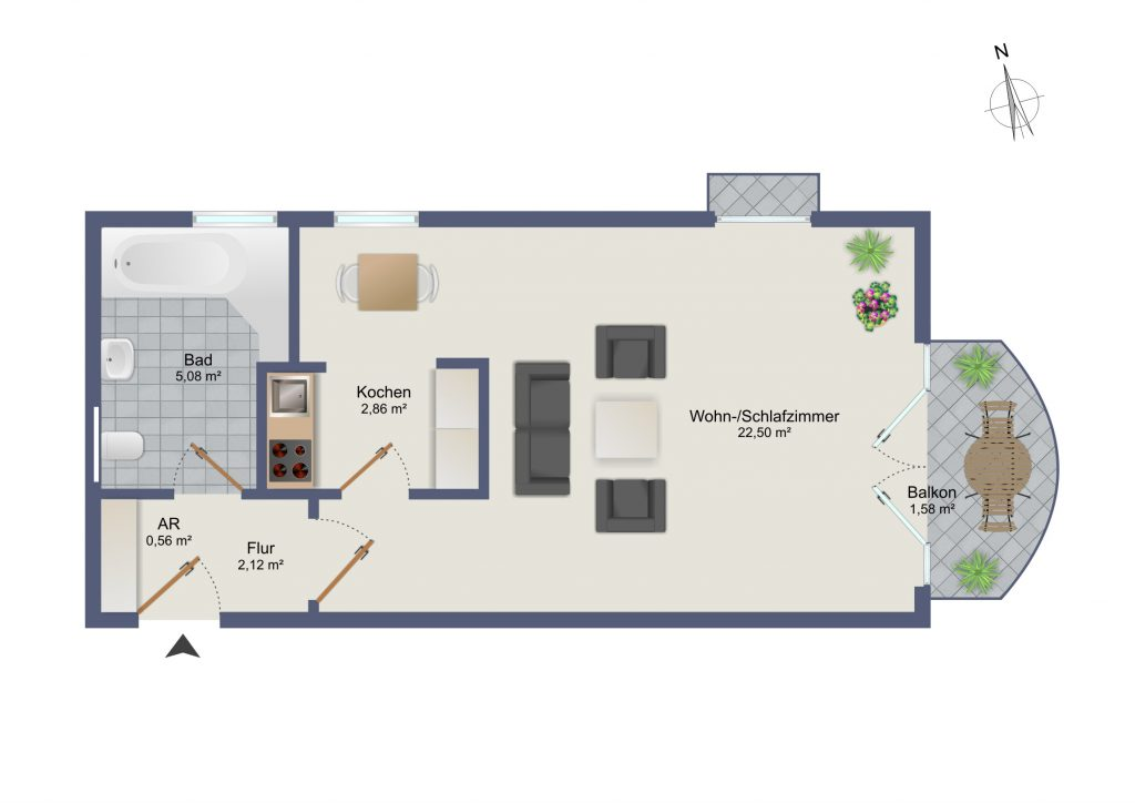 1 zimmer appartement am laimer platz m my private. Black Bedroom Furniture Sets. Home Design Ideas