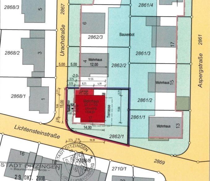 Lageplan Neu Baugenehmigung